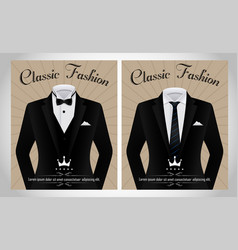 Business suit template with a black tie and white vector