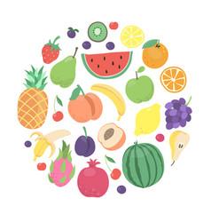 Cartoon doodle fruits and berries circle design vector
