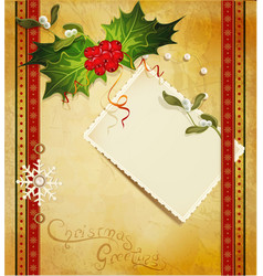 Christmas greeting card with holly vector