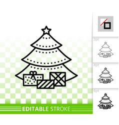 christmas tree simple fir black line icon vector image