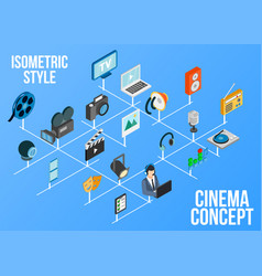 Cinema concept icons set isometric style vector