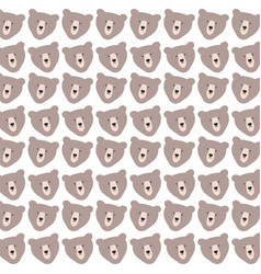 cute bears grizzly pattern background vector image