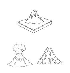 Design of volcano and lava symbol vector