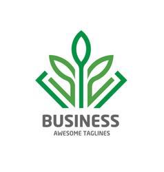 design shape leaf green color logo vector image