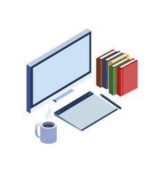 Desktop with ebooks icon vector