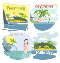 Digital touristic vacation destination set vector