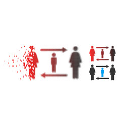 Dispersed pixel halftone women guy exchange icon vector