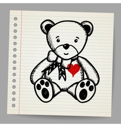Doodle bear with heart vector