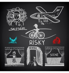 Doodle sketch ink drawing risky salesgirl scene vector