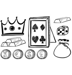doodles set with crown and coins vector image
