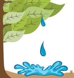 Ecological background with tree and water drop vector image