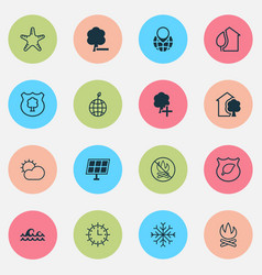 ecology icons set with snowflake no bonfire vector image