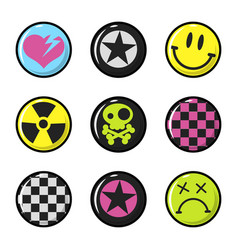 Emo icons isolated on white heart vector