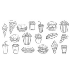 fast food sketch meals isolated takeaway dishes vector image