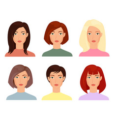 female faces flat set blonde vector image