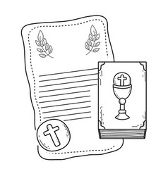 First communion card with bible vector