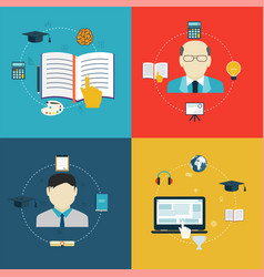 flat design icons of education online learning vector image