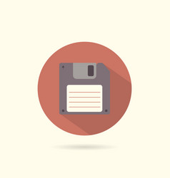 floppy round flat icon vector image