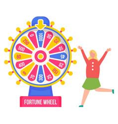 Fortune wheel and girl winner luck and chance vector