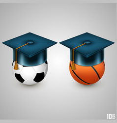 Graduate hat and sport vector