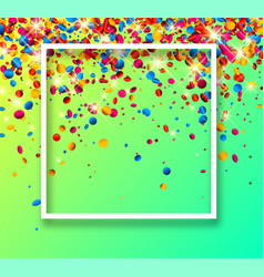 green festive background with colorful confetti vector image