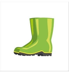 Green rubber boots isolated on white vector
