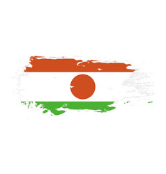 grunge brush stroke with niger national flag vector image