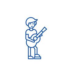 guitar playerflamenco line icon concept guitar vector image