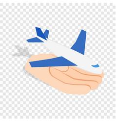 Hand holding plane isometric icon vector
