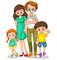 Happy family with parents and children on white vector