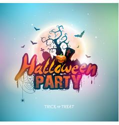 happy halloween banner with moon vector image