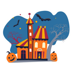 haunted house home or building with witch bats vector image