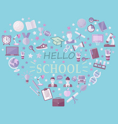 hello school icon set in heart symbol in flat vector image