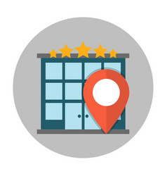 Hotel location flat icon vector