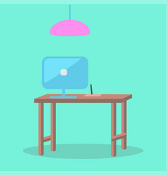 In office computer workplace design wooden table vector