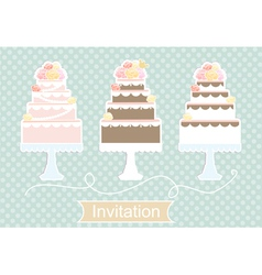 Invitation design with decorative cakes vector