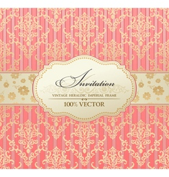 invitation vintage label vector frame pink vector image