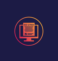 Iso 27001 information security standard icon vector