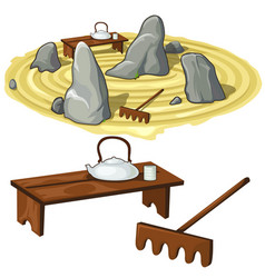 Japanese zen garden stones and utensils vector