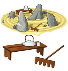 Japanese zen garden stones and utensils vector