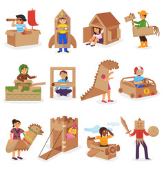 kids in box creative children character vector image