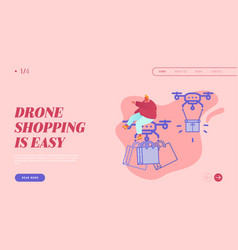 Landing page drone transporting package for vector