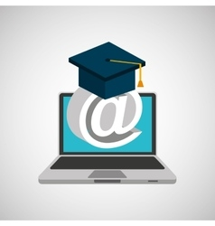 Learn online school email graduation vector