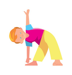 Little boy doing exercise icon vector