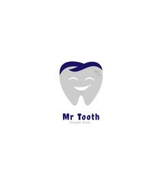 logo mr tooth dentist vector image