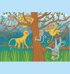 macaques among trees vector image