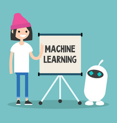 Machine learning conceptual young female vector