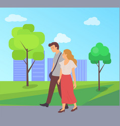 male and female walk together in green city park vector image