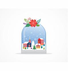 Merry christmas winter wonderland scenes in a vector