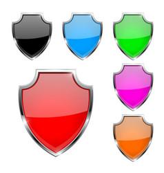 Metal 3d shields set colored safety symbols vector